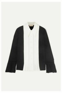 Tory Burch - Pleated Paneled Silk Crepe De Chine And Crepe Shirt - Black