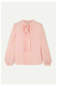 Temperley London - Jade Pussy-bow Pleated Chiffon Blouse - Pink