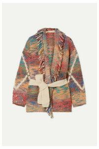 Vanessa Bruno - Mindy Fringed Belted Jacquard-knit Cardigan - Red