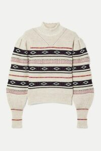 Isabel Marant - Conelly Pointelle-trimmed Intarsia Knitted Turtleneck Sweater - White
