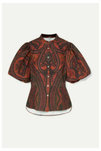 Adam Lippes - Paisley-print Stretch-cotton Poplin Blouse - Brick