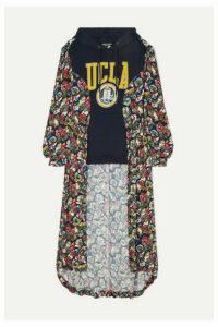 Junya Watanabe - Cotton-jersey And Floral-print Crepe De Chine Sweatshirt - Navy