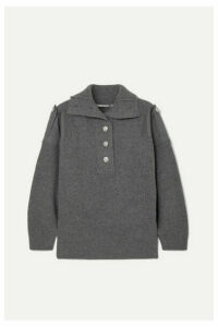 Stella McCartney - Twill-paneled Ribbed Wool Sweater - Gray