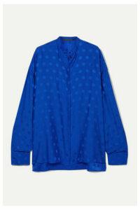 Haider Ackermann - Oversized Polka-dot Satin-jacquard Blouse - Cobalt blue