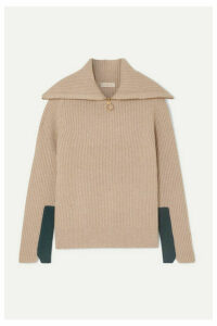 Tory Burch - Two-tone Ribbed Wool-blend Sweater - Beige