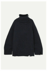 Maison Margiela - Oversized Distressed Mélange Wool Turtleneck Sweater - Navy