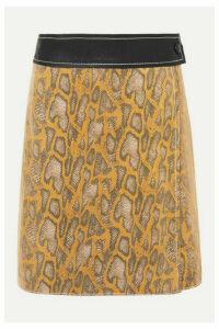 Stand Studio - Elene Snake-effect Leather Wrap Mini Skirt - Yellow