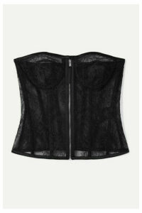 SAINT LAURENT - Silk Satin-trimmed Lace Bustier Top - Black