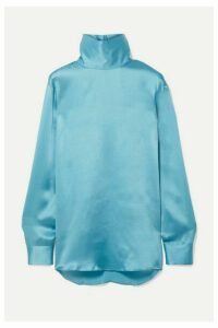 Dries Van Noten - Contisy Silk-satin Turtleneck Top - Turquoise