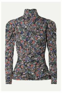 Isabel Marant - Jalford Ruched Floral-print Stretch-jersey Turtleneck Top - Black