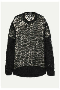 Junya Watanabe - Oversized Open-knit Layered Wool And Silk-blend Sweater - Black