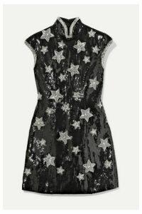 Andrew Gn - Embellished Sequined Silk-blend Georgette Mini Dress - Black