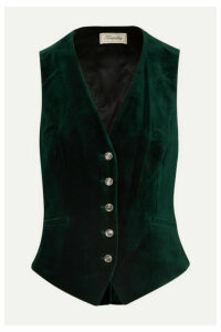 Temperley London - Clove Satin-paneled Velvet Vest - Dark green