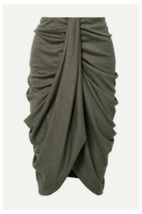 Isabel Marant - Datisca Asymmetric Ruched Wool-jersey Skirt - Army green