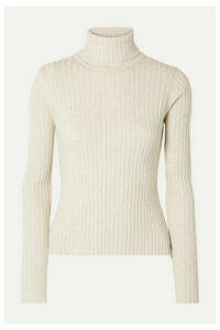 ANNA QUAN - Heather Ribbed Cotton Turtleneck Top - Off-white