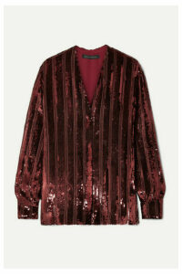 Sally LaPointe - Striped Sequined Chiffon Blouse - Claret