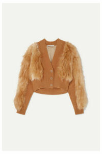 Stella McCartney - Faux Fur And Ribbed-knit Cardigan - Yellow