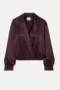 Cami NYC - The Kendall Wrap-effect Silk-charmeuse Blouse - Grape