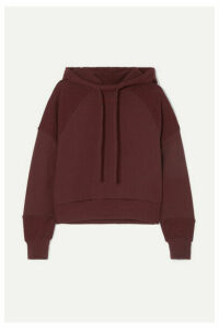 TWENTY Montréal - Sunnyside Embroidered Cotton-blend Terry Hoodie - Burgundy
