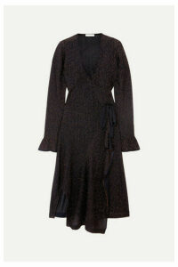 Chloé - Embroidered Knitted Wrap Dress - Navy
