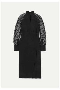 Balmain - Flocked Tulle And Silk-crepe Midi Dress - Black