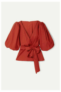 Johanna Ortiz - El Amor De Mi Tierra Cotton-blend Poplin Wrap Blouse - Red