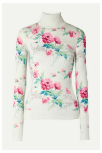 Les Rêveries - Distressed Floral-print Cashmere Turtleneck Sweater - White
