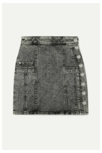 Balmain - Button-embellished Acid-wash Denim Mini Skirt - Gray
