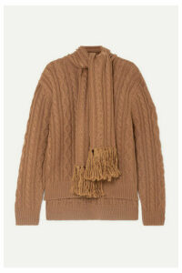 Mother of Pearl - Draped Fringed Cable-knit Wool-blend Sweater - Camel