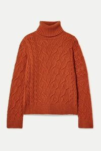 Loro Piana - Cable-knit Cashmere Turtleneck Sweater - Bright orange