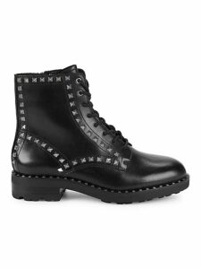 Wolf Studded Leather Combat Boots