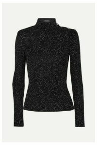 Balmain - Crystal-embellished Knitted Turtleneck Top - Black