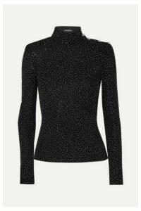 Balmain - Crystal-embellished Knitted Turtleneck Top - Black