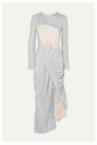 Preen by Thornton Bregazzi - Wilda Ruched Lace-paneled Sequined Tulle Dress - Silver