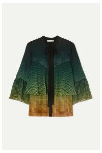 Mary Katrantzou - Milana Tie-neck Tiered Printed Silk-chiffon Blouse - Green