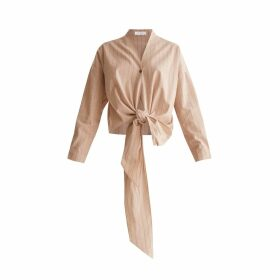 PAISIE - Striped Wrap Blouse With Tie Waist In Nude & Brown