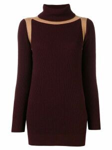 Victoria Beckham contrast panel ribbed jumper - Red