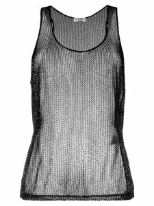Saint Laurent beaded mesh tank top - Black