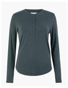 Per Una Ribbed Button Detailed Top