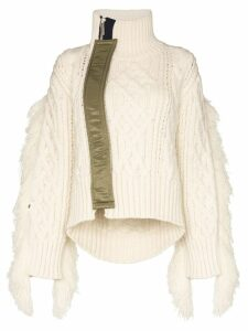 Sacai fringed cable-knit sweater - White