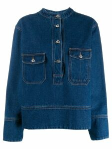 YMC denim button front top - Blue