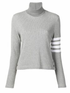 Thom Browne 4-Bar compact waffle turtleneck jumper - Grey