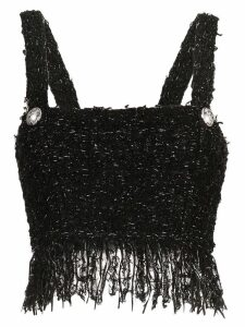Balmain cropped tweed tank top - EAC Noir Argent