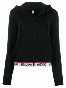 Moschino logo waistband hoodie - Black