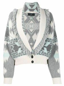 Alanui frayed lappel cardigan - Grey