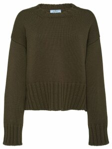 Prada slouchy style crewneck jumper - Green