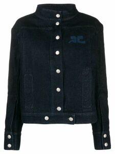 Courrèges printed logo denim jacket - Blue