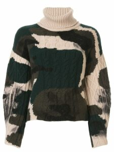 Lamberto Losani colour block roll-neck sweater - Green