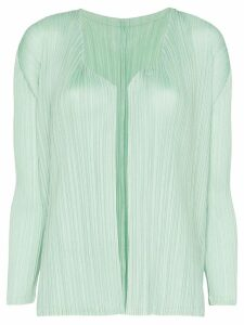Pleats Please Issey Miyake plissé pleated cardigan - Green