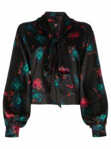 GANNI floral print blouse - Black